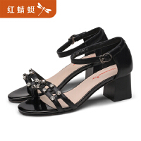 红蜻蜓真皮凉鞋女夏季凉鞋牛皮中空尖头低跟平底单鞋女