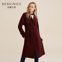 双面呢大衣女中长款迪赛尼斯季纯色腰带设计毛呢外套