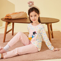 迪士尼女童内衣套装棉2021新款春秋宝宝卡通家居服睡衣儿童两件套