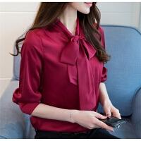 衬衫女士长袖春季蝴蝶结系带领仿真冰丝绸缎OL气质酒红打底衫衬衣