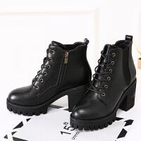 秋冬马丁靴女防水台粗跟短靴英伦复古系带百搭中跟高跟厚底棉靴子 黑色 绒里