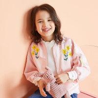 【全场2件2.5折,到手价:67.3】美特斯邦威旗下moomoo童装女中童外套春秋装新款刺绣梭织中大儿童棒球领夹克