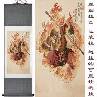 西游记人物丝绸卷轴画 孙悟空客厅装饰画 人物挂画 定制定做 150*55 带锦盒