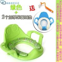 马桶圈马桶盖座便器加大坐便器软垫小孩马桶幼儿宝宝男女时尚垫圈婴幼儿 绿色 加2毛�q暖垫