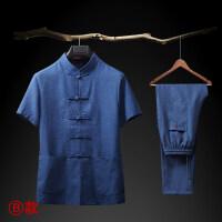 中国风中老年人唐装短袖套装中式男装爸爸夏装居士服青年汉服棉麻