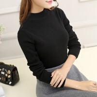 2018 新款秋冬加绒毛衣女套头长袖短款半高领加厚针织衫纯色修身保暖打底衫性感潮流