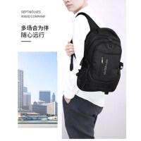 七匹狼双肩包旅行包大学生书包时尚潮流帆布男士背包女商务电脑包
