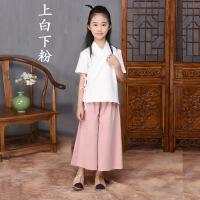 夏季小女孩幼儿童宝宝改良短袖日常汉服唐装套装古装国学演出服装