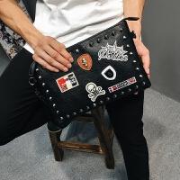 韩版复古铆钉手拿包手腕包单肩斜挎包 文件包信封包潮男女手抓包