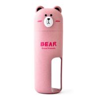 居家旅行创意小麦大熊洗漱杯情侣套装牙刷牙膏收纳杯漱口杯牙刷盒 粉红色 带竹炭牙刷