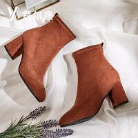意尔康2018新款女靴踝靴短靴粗跟加绒保暖女短靴
