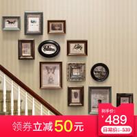 美式照片墙相框墙组合带钟表复古相框挂墙客厅餐厅实木欧式相片墙