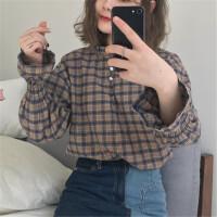 2018流行女�b新款格子�r衫女�L袖�W生小清新�n版喇叭袖上衣打底衫