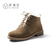 青婉田系带雪地靴女皮毛一体韩版冬学生加厚保暖防滑时尚短靴平底