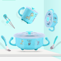 儿童餐具婴儿碗勺套装辅食碗宝宝餐具不锈钢防摔防烫宝宝碗5ic