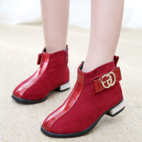 女童靴子2018秋冬新款女童英伦风马丁靴儿童保暖短靴二棉童靴童鞋