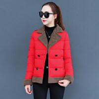 秋冬新款短款棉衣女韩版时尚修身学生棉袄羊羔毛西装领外套女