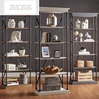 ZUCZUGLOFT北欧复古铁艺实木置物架书架多层落地收纳架客厅储物架陈列架