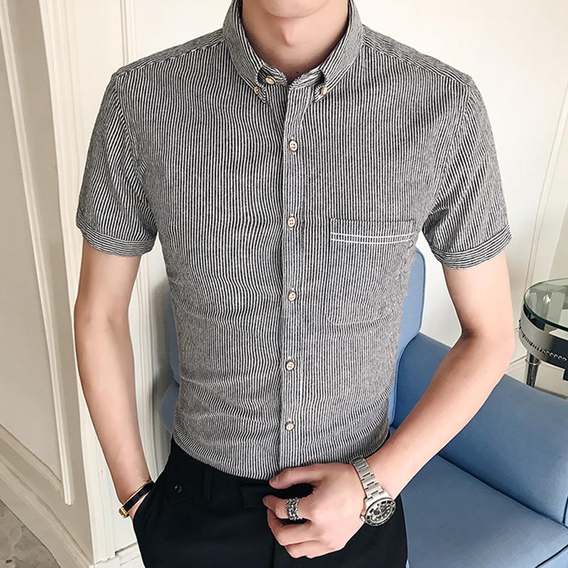 男装夏季新款韩版寸衫短袖衬衫男士条纹潮流百搭休闲衬衣39