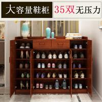 实木色鞋柜家用门厅柜简约现代中式玄关柜多层多功能大容量储物柜