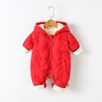 婴儿连体棉衣新生婴儿衣服男秋冬潮服保暖爬爬行服女宝宝外出抱衣 红色