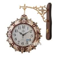 客厅双面挂钟玻璃大号钟表时尚静音欧式简约金属铁艺石英钟 20英寸