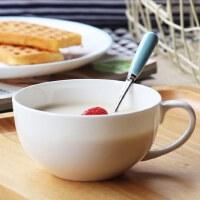 带盖牛奶陶瓷早餐杯杯燕麦碗麦片杯大容量带把骨瓷杯子勺可爱水杯