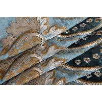 加厚欧式蓝色雪尼尔绣花遮光地中海现代简约卧室客厅窗帘 孔雀蓝 布帘