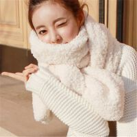 毛毛绒羊羔毛围巾女秋冬季学生围脖披肩少女厚
