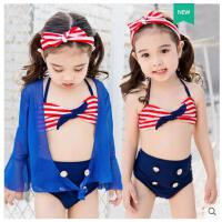儿童泳衣女孩比基尼三件套小童婴儿沙滩泳装长袖宝宝公主可爱大童