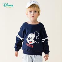 【129元3件】迪士尼Disney童装 米老鼠印花卫衣春季新款宝宝圆领套头上衣男孩百搭外出服191S1124
