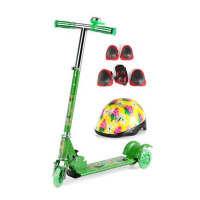 儿童宝宝三轮滑板车 闪光折叠踏板车小孩滑滑车全套护具 清新绿+全套护具
