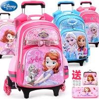 迪士尼儿童拉杆书包小学生三轮爬楼冰雪苏菲亚1-3-4年级女童背包