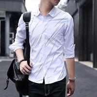 施衣品秋季新款男士长袖衬衫青少年时尚休闲修身帅气衬衣C212-921