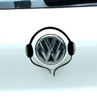 耳麦耳机车贴 波罗 高尔夫车贴 汽车贴纸 大众车标贴个性搞笑