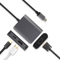 USB-C转换器苹果MacBook Pro/Air转接头笔记本电脑拓展坞连接VGA投影仪显示器HDM 黑色【USB-C