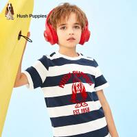 【2件5折:100.5元】暇步士童装男童短袖圆领衫2021夏季新款中大童撞色条纹T恤