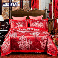 当当优品丝棉四件套 奢华绸缎欧式提花床品 双人床单四件套 夜宴(大红)