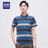 【补贴价:69】罗蒙男士短袖T恤商务休闲夏季薄款条纹撞色翻领POLO衫