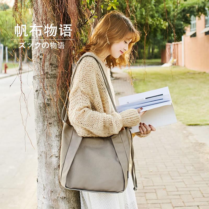 帆布女包新款学院风单肩手提包斜挎包韩版百搭布艺多功能大包包