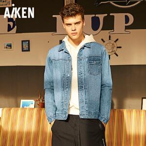 Aiken牛仔夹克男2017秋季新款男士落肩宽松个性外套纯棉学生衣服