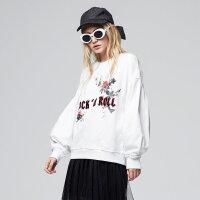 【2件2.5到手价:64】美特斯邦威卫衣女新款潮流喇叭袖字母印花套头上衣