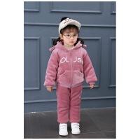 女宝宝秋冬装套装0一1-2-3岁韩版潮4婴儿5女童洋气加绒加厚两件套 紫罗兰 加绒加厚