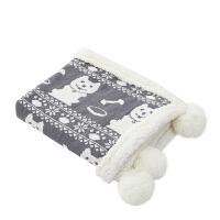 ???婴儿毛毯双层加厚冬季 新生儿秋冬毛线云毯盖毯 宝宝冬推车抱毯 75X100CM