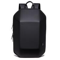 香港潮牌防盗双肩包男硬壳背包男创意书包电脑包休闲旅行包防水包 黑色