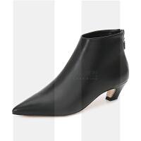 猫跟短靴女靴子尖头及踝靴冬中跟瘦瘦靴2018新款秋季女鞋粗跟裸靴SN2535