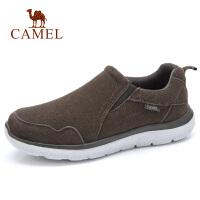 camel骆驼男鞋 秋季新品保暖健步运动鞋休闲反绒牛皮慢跑散步鞋