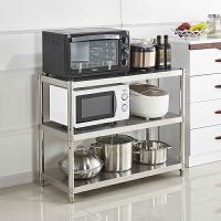 厨房用品置物架3层微波炉架子收纳储物锅架不锈钢落地三层烤箱架