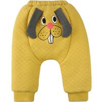女宝宝冬装0-6-12个月初生婴儿男1-2岁加绒加厚夹棉大哈伦裤子