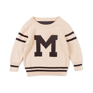 男童字母运动风儿童针织韩版休闲宝宝套头长袖童装中小童毛衣